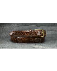 "Men's Custom Wide, Custom Size, Extra Length, Stock Color & Stock Quality  1-1/2"" Dress-Casual Alligator Belts"